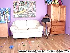 Teen pops balloons in heels