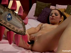 Evilyn Fierce and Missy Minks play with a fucking machine indoors