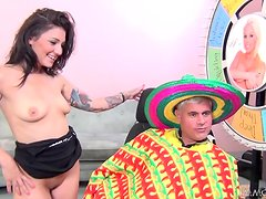 Pretty Aimee Black gets pounded by a guy in sombrero