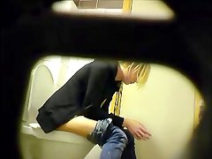 Nasty blonde teen 7 times at toilet! - Eats and texts! Spy