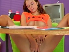 Alluring young Victoria is touching her lovely snatch