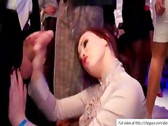 Massive blowjob with beauties in the VIP club