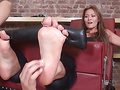 beautiful asian babe tickled