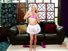 Blonde Ashley Stone with tiny tits and