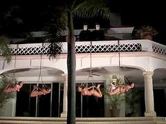Three tied up girls get humiliated on a lawn late at night
