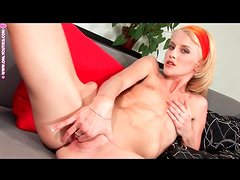 Tall skinny blonde plays with bald vagina