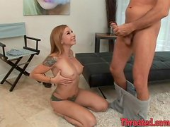 Redhead Scarlett Pain gives sloppy blowjob in POV video