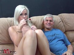 Slutty Tara Lynn Foxx gives a handjob and fucks a guy