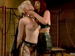 Maitresse spreads Sasha's legs and gives her twat some pain