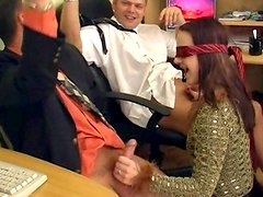 Blindfolded model Anita fuck with three poles