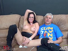 Busty brunette Tory Lane gets her mouth and vag fucked deep