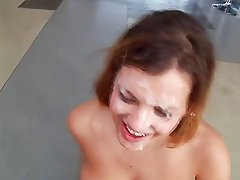 Big natural boobs hottie taking care of several cocks