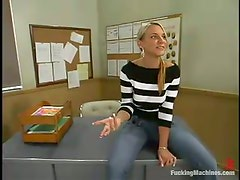 Delightful blondie uses a fucking machine in the class