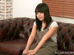 Weird Japanese girl is getting her tight pussy played