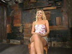 Curvy blond Hollie Stevens gets poked doggy style in the device