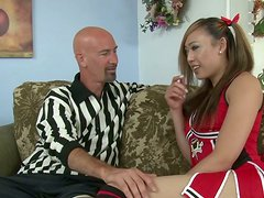 Sexy Asian cheerleader gives the hottest blowjobs around