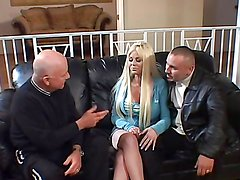 Busty blonde's double penetrated by a black cocks