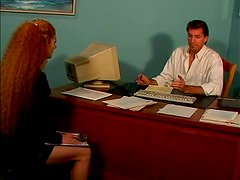 Curly Annie Body gets her hairy pussy fucked in an office