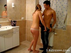 Cute girl Lara  gets fucked in a bathroom after sucking a cock