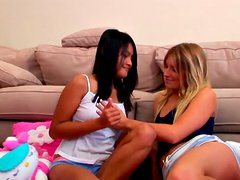 Cute and curvy Asian lesbo teen gets her coochie eaten