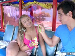 Chubby bitch Alejandra rubs a cock and gets fucked in a bus