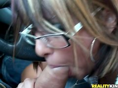 Britney Sanders rubs and rides a schlong outdoors and enjoys herself