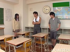 Pretty teen Nana Usami is a horny cock-starved college girl.