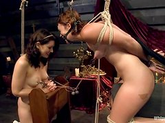 Nasty nun punishes and dominates two babes in school uniform