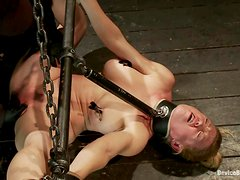 Blonde girl in gas mask gets bonded and toyed