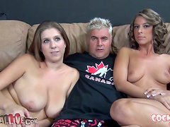 Two brown-haired babes give hot blowjob to old dude