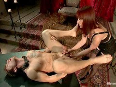 Maitresse Madeline plays with Steve Sterling's cock in BDSM scene