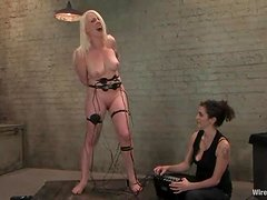 Adorable Lorelei Lee gets charged with electrodes