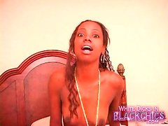 Shaved black girl gets good interracial fuck