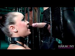Two guys bang Liza Del Sierra in leather