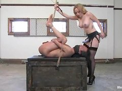 Hot blonde in stockings toys Tao Jonz in his ass