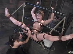 Wicked Lesbian Action in BDSM Session with Bondage and Toying Fun