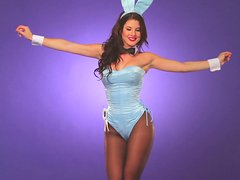 Gorgeous brunette with bunny ears makes hot show