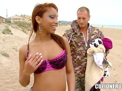 Katia De Lys rubs a cock and loves it hard doggy style
