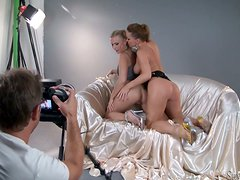 Amazing Silvia Saint and Michelle pose for a camera