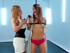 Cute Riley Reid gets bound and hit with electricity
