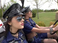 Two hot babes in police uniform get fucked by Black guy
