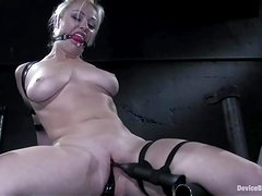 Kinky Adrianna Nicole gets her tits tortured in bondage video