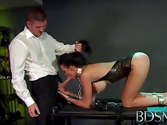 BDSM XXX sub gets so wet when chained up