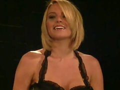 Krissy Lynn gets her vag fingered and toyed while being in a pillory