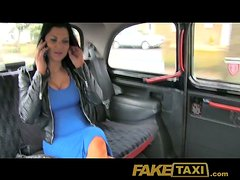 Stunning girl with big boobs rides a dick in a taxicab