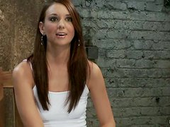 Beautiful Katie Jordin gets tied up to a wall and toyed