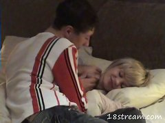 A guy fucks his blonde GF after she's sucked his dick in homemade scene