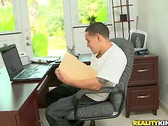 Brie Turner gives a blowjob and gets fucked on a desk