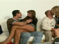 Nasty chicks get fucked in their asses and pussies in a foursome