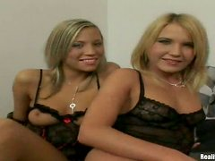 Two lovely blondes in sexy lingerie fuck two guys in a bedroom